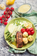 Printed roller blinds Appetizer Baked salmon with asparagus and hollandaise sauce