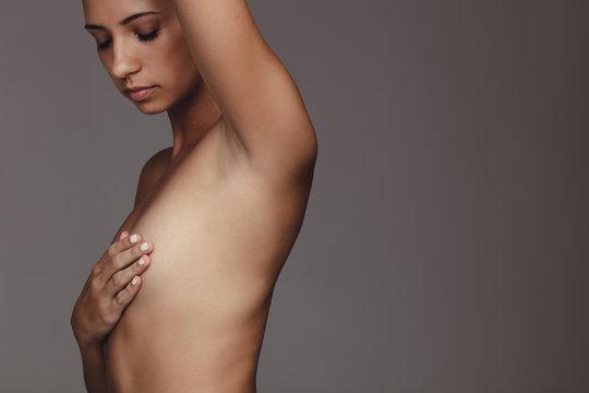 Woman topless