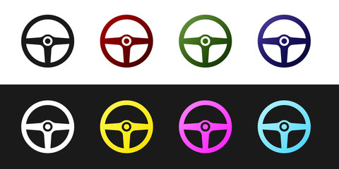 Set Steering wheel icon isolated on black and white background. Car wheel icon. Vector Illustration