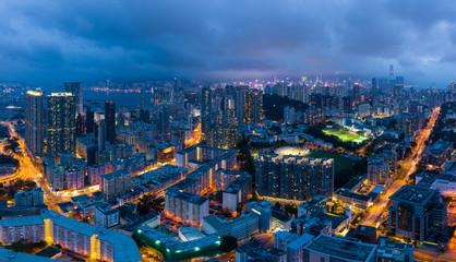 Wall Mural - Aerial view of Hong Kong city at night