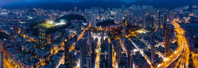 Wall Mural - Top view of Hong Kong city downtown at night