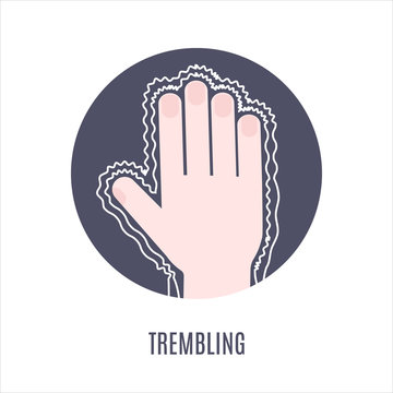 Trembling hands as a symptom of disease, sensitivity to cold, anxiety or fear. Muscle twitching icon. Vector illustration.