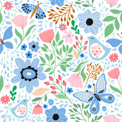 Floral seamless pattern with decorative flowers , plants and butterflies