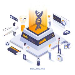 Flat color Modern Isometric Illustration design - Healthcare