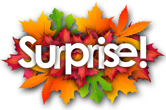 surprise word and autumn leaves background