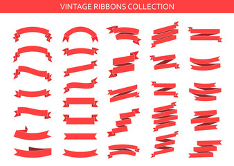 Wall Mural - Vintage ribbons banners collection. Flat ribbon illustration isolated on white background. Ribbons set. Vector illustration.