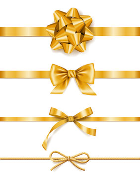 Set of golden ribbons with bows, decoration for gift boxes, design element
