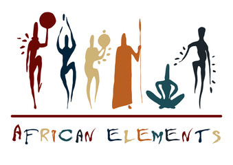 African elements silhouette man vector ancient Neolithic paleo rock carvings
