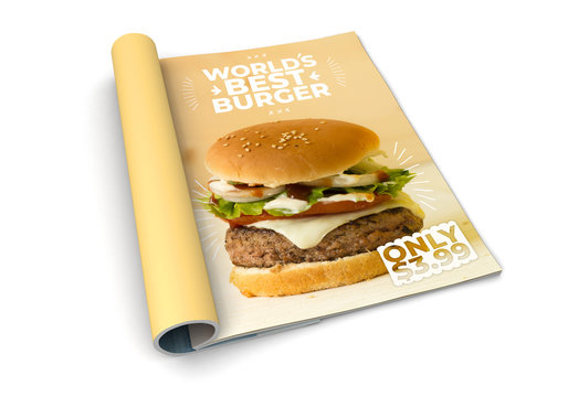 isolated magazine burger advertising