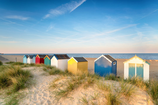 Beach huts in sand dunes at Southwold