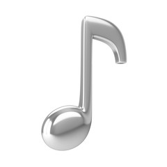 3d Rendering Silver Music Note isolated on white background