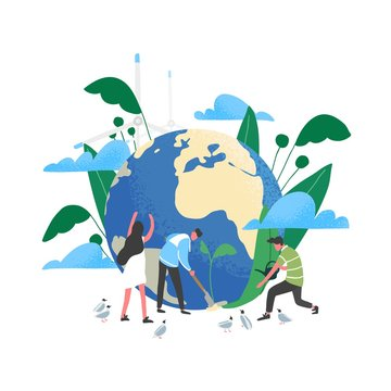 Group of people or ecologists taking care of Earth and saving planet. Environmental protection, use of eco friendly or sustainable technology, green renewable energy. Flat vector illustration.