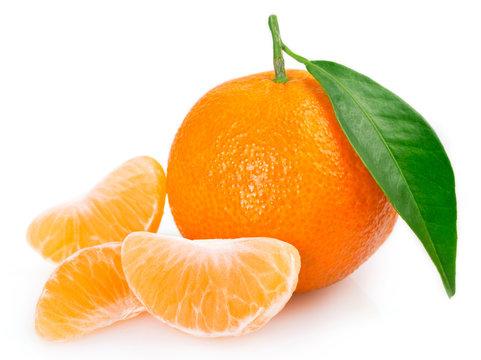 Fresh mandarin on white background
