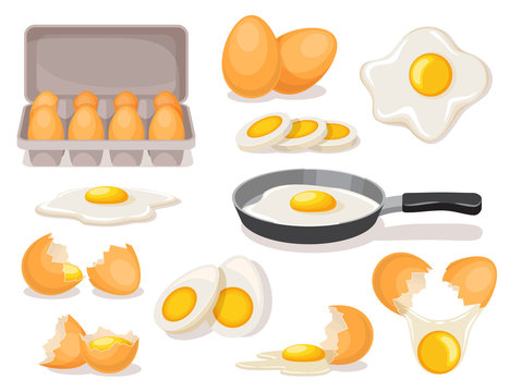Eggs set, boiled and fried in skillet, in carton package, broken shell