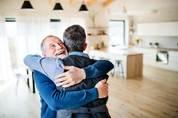 An adult hipster son and senior father indoors at home, hugging. Wall mural