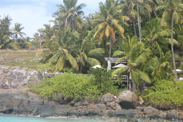 Photo sur Toile Ile private island beach seychelles palm coconut sand sun