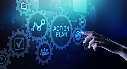 Action plan business strategy development concept on virtual screen.