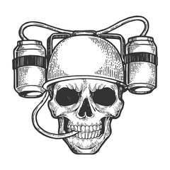 Human skull in beer soda helmet drinker sketch engraving vector illustration. Scratch board style imitation. Hand drawn image.
