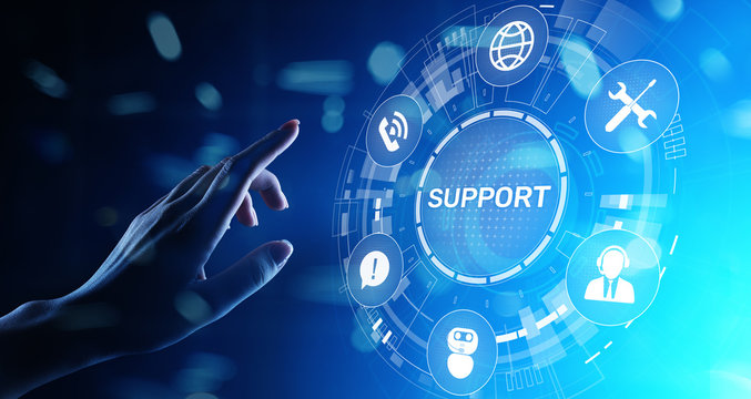 Support button on virtual screen. Customer service and communication concept.
