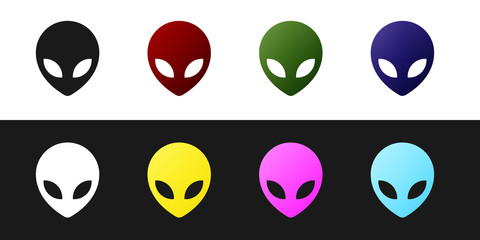 Set Alien icon isolated on black and white background. Extraterrestrial alien face or head symbol. Vector Illustration