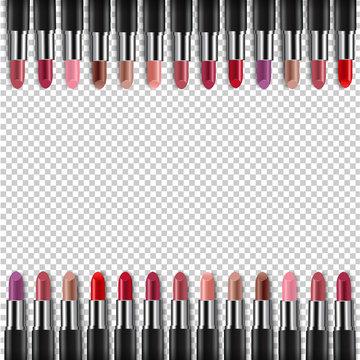 Color Lipsticks Border Transparent Background