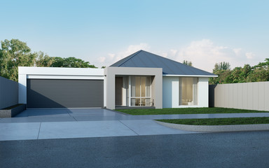 View of modern house in Australian style on blue sky background,Contemporary residence with metal sheet roof design- housing. 3D rendering. Fototapete