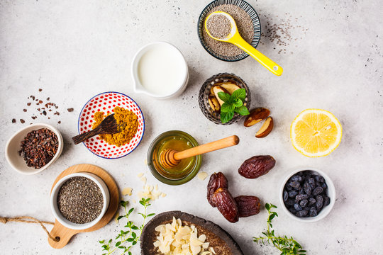 Flt lay of super foods on white background. Cooking healthy food concept.