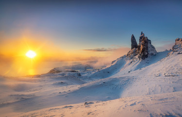 Snowy sunrise at the old man of storr