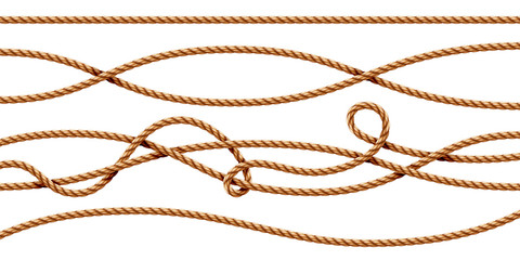 Set of isolated curvy 3d ropes. Straight and tied up sailor strings. Realistic marine cord or retro, vintage navy thread. Twisted hemp or jute nautical line with knot, intertwined loop. Whipcord Wall mural