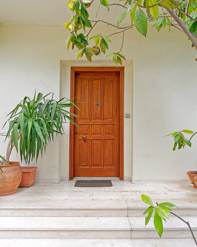 cozy house entrance solid wooden door and flower pots