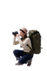 Aged female tourist isolated on white