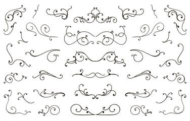 Set of hand drawn flourish elements, vintage styled calligraphic flourishes.