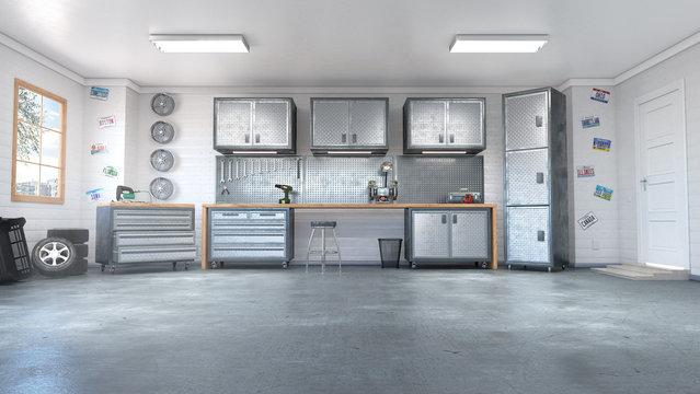 Modern garage interior. 3d illustration