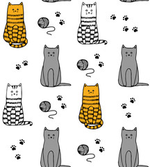 Funny cats handdrawn pattern vector