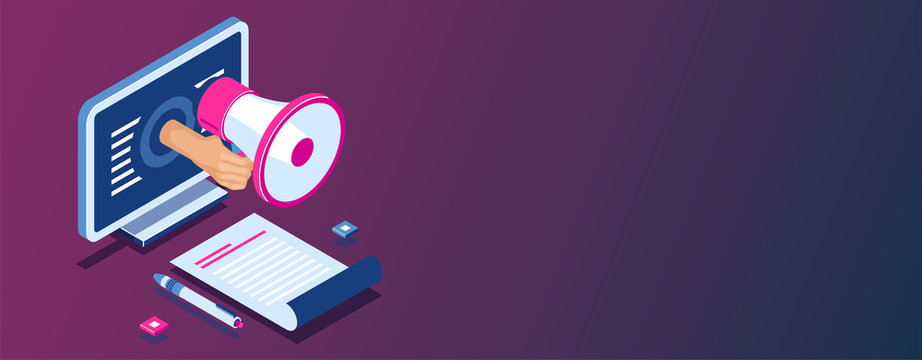 Internet Promotion Isometric Concept. hand with megaphone from laptop screen. Call to action. Social Media Marketing. Vector Illustration in 3d flat style