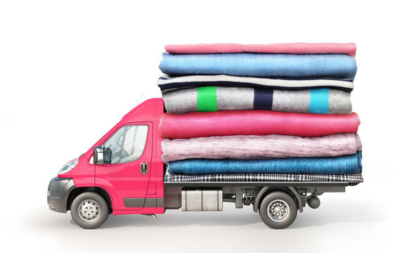 Concept of clothing delivery. A van with a stack of clothes on a platform isolated on white background. Moving concept