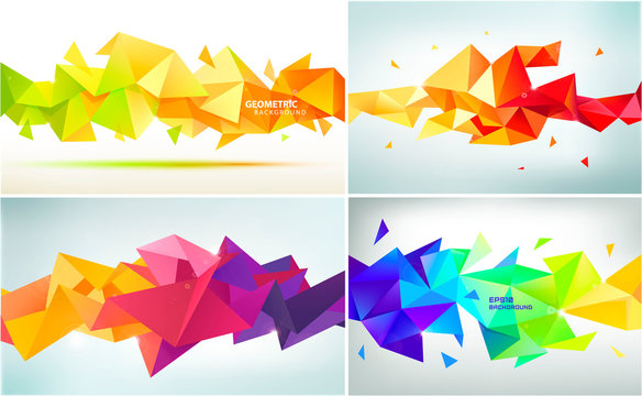Vector set of abstract geometric facet shapes. Use for banners, web, brochure, ad, poster, etc. Low poly modern style background. Colorful paper