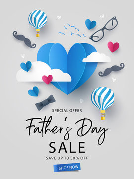 Happy Father's Day Sale background, banner, poster or flyer design with flying origami hearts over clouds with air balloons, paper mustache, glasses and bow tie. Paper art, digital craft style.