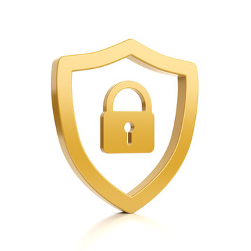 Yellow Outline Shield Shape with Padlock on White