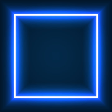 Neon frame sign in the shape of a square. neon square color. template design element. Vector illustration