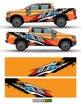 truck 4 wheel drive and car graphic vector. abstract lines with Orange background design for vehicle vinyl wrap