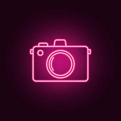 Camera neon icon. Elements of turizm set. Simple icon for websites, web design, mobile app, info graphics