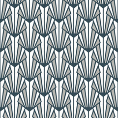Stained glass Art Deco seamless pattern gray blue decorative texture.