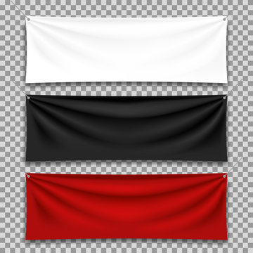Textile banners set, isolated on transparent background.