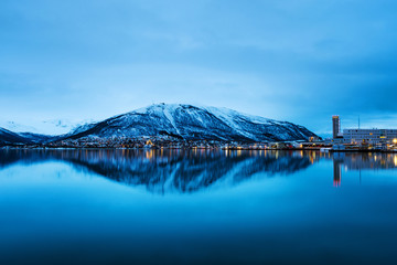 Wall Mural - Night view of famous north town Tromso, Norway. View of the fjord