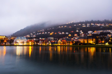 Wall Mural - View of old town in Bergen, Norway in the night