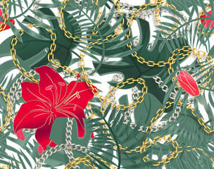 Seamless summer pattern with chains and tropical leaves and hibiscus flowers. Trendy fashion print. Tropical Seamless pattern with exotic flowers. Vector background