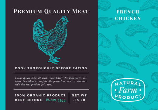 Premium Quality Meat Abstract Vector Poultry Packaging Design or Label. Modern Typography and Hand Drawn Chicken Sketch Background Layout. Seamless Food Pattern of Steak, Sausage and Wings