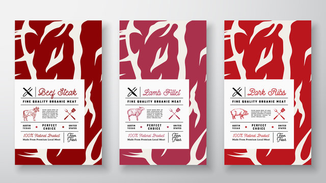 Premium Quality Abstract Vector Meat Labels Cover Set. Packaging Design. Modern Typography and Hand Drawn Cow, Sheep and Pig Silhouettes Background Layouts.