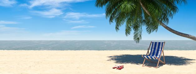 Urlaub Strand Szene mit Liege unter Palme und Meer